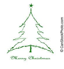 noël, vert, star., arbre