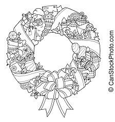 noël, wreath., griffonnage, hiver, cercle, pattern.