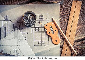 nośny, mechaniczny rysunek, stworzony