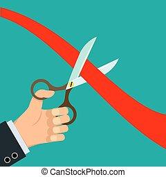 nożyce, cięty, czerwona wstążka
