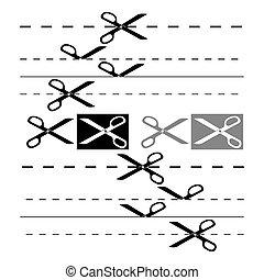 nożyce, szablon, dla, design., eps, 8