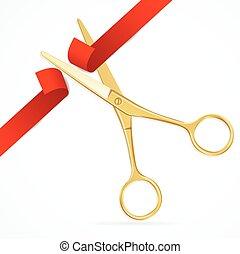 nożyce, wektor, cięty, czerwony, ribbon.
