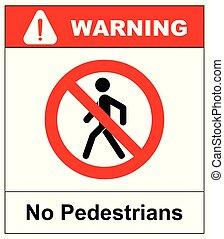 no, acceso, para, peatones, prohibición, señal, vector,...