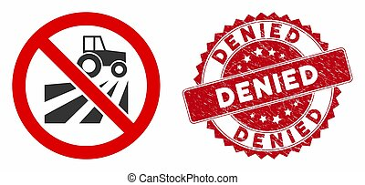 No Agriculture Field Icon with Distress Denied Seal