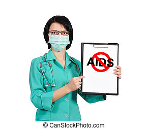 no aids concept - female doctor holds clipboard with no aids...