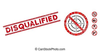 No Aim Mosaic and Grunge Disqualified Stamp with Lines - ...