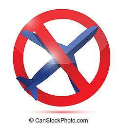 no air travel sign illustration design