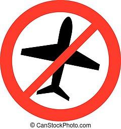 no airplane symbol, forbidden flight sign (prohibition icon)