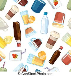 no alcohólico, bebidas, bebidas, vector, seamless, patrón