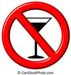 No Alcohol 3D Sign