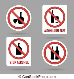No alcohol and free area vector signs