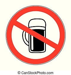 no alcohol forbidden sign with beer isolated on white background vector illustration