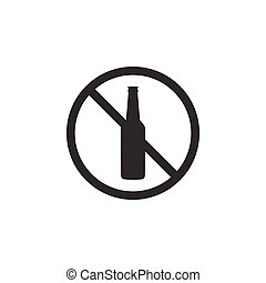 No alcohol icon isolated. Prohibiting alcohol beverages. Forbidden symbol with beer bottle glass. Flat design. Vector Illustration