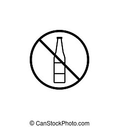 No alcohol line icon, prohibition sign, forbidden