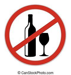 no, alcohol, permitido, señal, vector