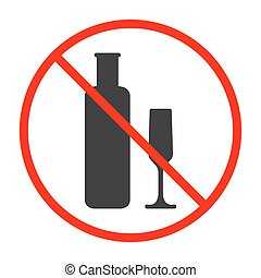 No Alcohol Sign and Symbol. Prohibited icon. Vector illustration.
