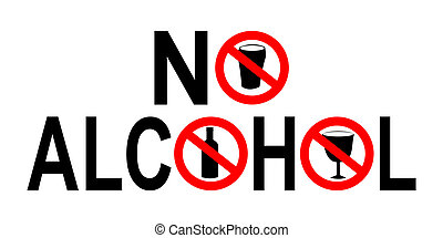 no alcohol sign with beer and bottle prohibited symbols