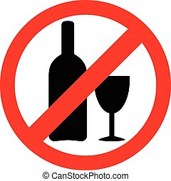 No alcohol sign. Drinking alcohol is forbidden icon.
