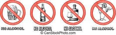 No alcohol sign set. Vector hand drawn illustration in...
