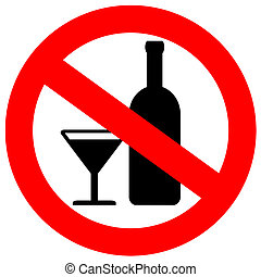 No alcohol sign isolated on white