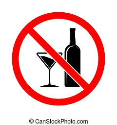 No alcohol sign. Vector illustration.