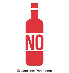 No Alcohol Sign with Bottle, Vector Illustration isolated on white background.