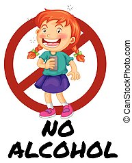 No alcohol sign with girl drinking