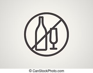 No alcohol vector icon sign symbol