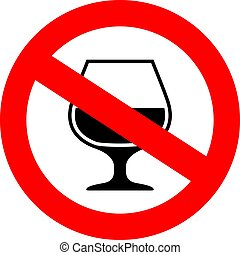 No alcohol vector sign on white background