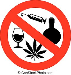 no, alcohol, y, drogas, señal