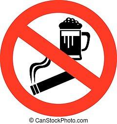 no, alcohol, y, señal de fumar