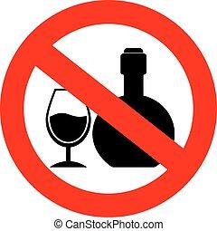 no, alcool, segno