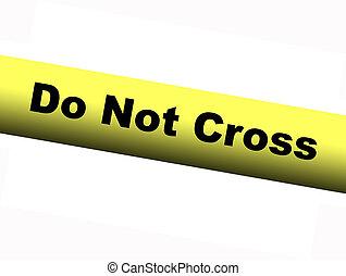 no, amarillo, cinta, cruz, barrera