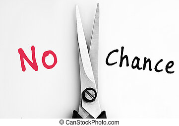 No and Chance words with scissors in middle