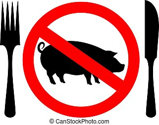 No animal meat vector sign
