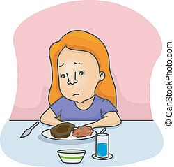 Illustration of a Girl Not in the Mood to Eat
