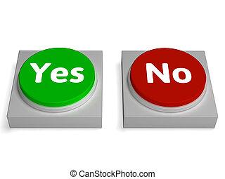no, assegno, bottoni, sì, convalida, o, mostra