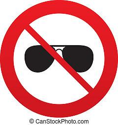 No Aviator sunglasses sign icon. Pilot glasses.
