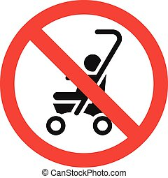 No baby carriage icon, simple style