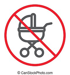 No Baby Carriage line icon, prohibition and forbidden, no stroller sign vector graphics, a linear pattern on a white background, eps 10.