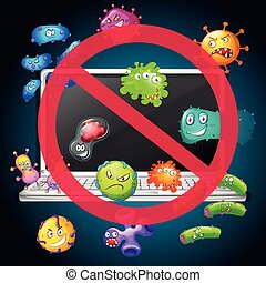 No bacteria sign on computer