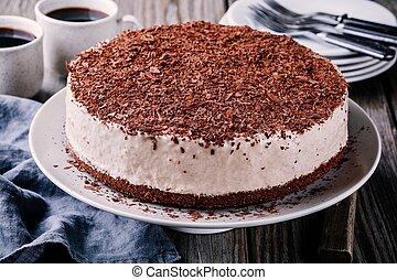 No-bake chocolate cheesecake on a plate