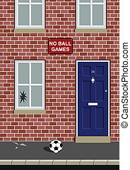 broken window  - No ball games with broken window by ball