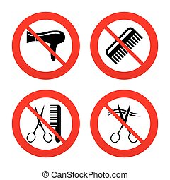Hairdresser icons. Scissors cut hair symbol. - No, Ban or...