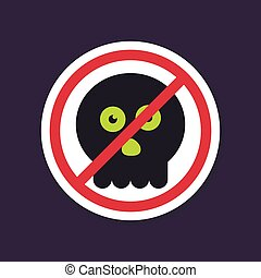 No, Ban or Stop signs. halloween skull icon