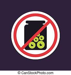 No, Ban, Stop sign. Halloween, eye glass jar icon