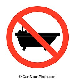 No Bathtub sign illustration.