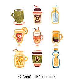 no, bebidas alcohólicas, té, café, chocolate caliente, latte, zalamero, jugo, limonada, vector, ilustraciones, en, un, fondo blanco