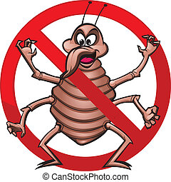 No Bed Bugs! - Cute illustration of bed bug in a prohibited...