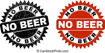 NO BEER Black Rosette Stamp Seal with Grunge Style